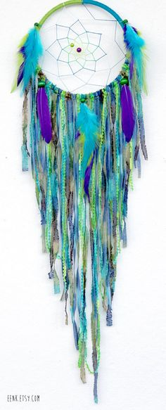 The Peacock Large Native Style Woven Dream Catcher by eenk on Etsy