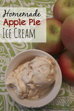 Homemade Apple Pie Ice Cream - From This KitchenOh my goodness! This homemade apple pie ice cream is incredible - all time favorite for our entire family. (Plan for extra pie next time! Apple Pie Ice Cream, Keto Ice Cream, Ice Cream Pies, Ice Cream Recipes, Homemade Apple Pies, Homemade Ice Cream, Frozen Desserts, Frozen Treats, Apple Recipes