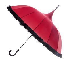 This striking, red, curved canopy and black ruffle trim is a true head turner. With a matching black crook handle, this multi panel umbrella has a manual open mechanism and a generous canopy width of 40 inches. It's overall length is 37 inches and is constructed using a steel shaft, fibreglass ribs and double spoked fibreglass frame. Rain or Shine.