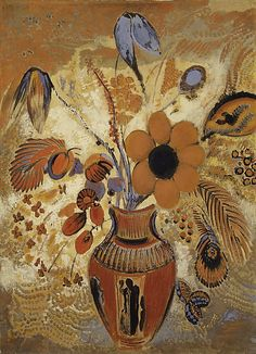 Etruscan Vase with Flowers 1900-10.   Odilon Redon