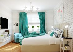 16 Cool And Modern White Bedroom Designs : Cool White Painted Brick Wall Modern . 16 Cool And Modern White Bedroom Designs : Cool White Painted Brick Wall Modern Bedroom with Cube Beige Headboard and Turquoise Curtain also. Turquoise Curtains, Bedroom Turquoise, Interior Design Color Schemes, Modern Interior Design, Interior Designing, Brick Interior, Cosy Interior, Apartment Interior, Interior Paint
