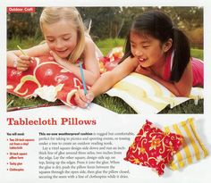 Big No-Sew Outdoor Pillows - Family Fun Magazine Outdoor Reading Nooks, Outdoor Crafts, Outdoor Decor, Outdoor Spaces, Outdoor Living, Family Fun Magazine, Picnic, Pillows, Yard Ideas