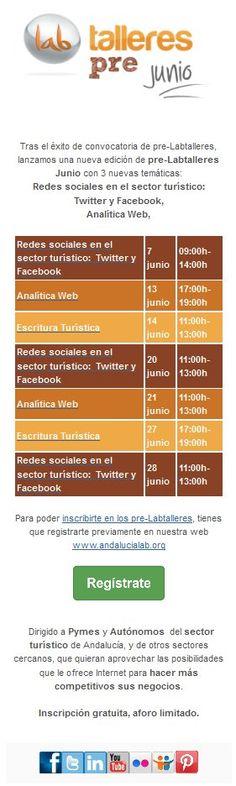 Pre-Labtalleres junio ya están aquí, con nuevas temáticas!! Puedes consultarlos en nuestra web: http://www.andalucialab.org/eventos/
