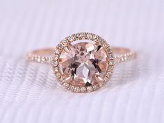 7mm Round Cut pink morganite Engagement ring,14k Rose gold,diamond Wedding Band,Halo,Claw Prongs,Aquamarine Emerald Birthstone available by milegem on Etsy