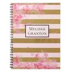 Pink Gold Stripe with Watercolor Flowers Custom Notebook   ideas for back to school, valetines for school, back to school cricut ideas #backtoschoolbraids #backtoschool2020 #backtoschoolminis, back to school, aesthetic wallpaper, y2k fashion Back To School For Teens, Back To School Supplies, Address Label Stickers, Personalized Notebook, Unique Invitations, Custom Notebooks, Gold Stripes, Watercolor Flowers, Aesthetic Wallpapers