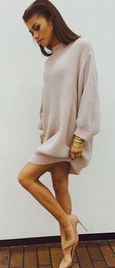 Nude sweater dress & heels
