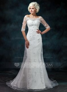Wedding Dresses - $189.99 - Mermaid Off-the-Shoulder Court Train Organza Satin Wedding Dress With Lace Beadwork (002012573) http://jjshouse.com/Mermaid-Off-The-Shoulder-Court-Train-Organza-Satin-Wedding-Dress-With-Lace-Beadwork-002012573-g12573?ver=xdegc7h0