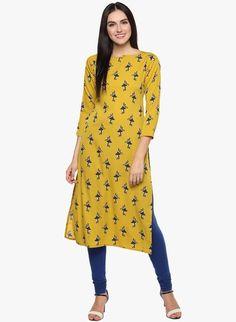 mustard yellow printed boat neck kurti Latest Kurti Design FASHION : IMAGES, GIF, ANIMATED GIF, WALLPAPER, STICKER FOR WHATSAPP & FACEBOOK #EDUCRATSWEB