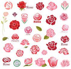 Set of rose flower design elements