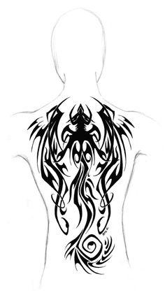 Dragon tribal - back tattoo