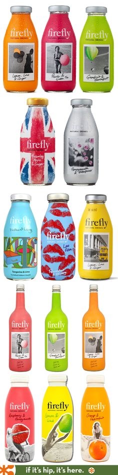 Firefly Tonics bottles, with different shrink sleeve colored designs that we made according to your wish. to order it , contact us.  #etiquette #bouteille #shrink #sleeves #bottle #labels