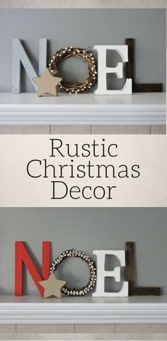"Love how the ""O"" is a grapevine wreath - adds rustic charm to the sign! Noel wood letters, Christmas decor, Rustic Wood, Rustic Christmas decor, Noel Sign, Christmas Mantel Decoration, Rustic Noel sign #ad"