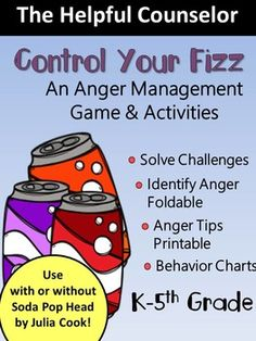 Anger Management Activities - use with Soda Pop Head by Julia Cook Elementary School Counseling, School Social Work, School Counselor, Coping Skills, Social Skills, Anger Management Games, Management Quotes, Julia Cook, Emotional Regulation