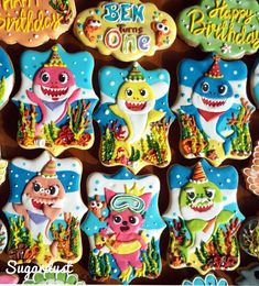 Pinkfong Baby shark decorated icing cookies Sugardust Source by 1 Year Old Birthday Party, Birthday Themes For Boys, Baby Boy Birthday, Boy Birthday Parties, Birthday Party Decorations, 2nd Birthday, Birthday Ideas, Shark Cookies, Baby Cookies