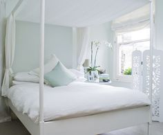 "The duck egg blue wall is 'Pavillion Blue"" from Farrow & Ball. Bedrooms - Decorating Ideas from Farrow & Ball"