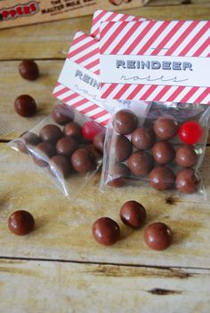 reindeer noses treat bags with free printable