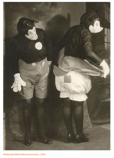 mickey & minnie mouse costumes - c.1931 [link to series of halloween/party costumes from late 1800-early 1900s]