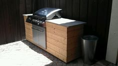 DIY BBQ Island - Wood and concrete countertop