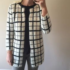 patterned cardigan sweater NWT • open front • super soft • white/cream fuzzy background • black and grey pattern • sleeves hit right above wrists • acrylic + nylon/polyamide Forever 21 Sweaters Cardigans