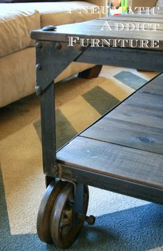 """Pneumatic Addict Furniture: World Market """"Aiden"""" Coffee Table Knock-off - this lady seems awesome!  welded the wheels and everything!!"""