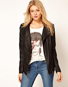 Oasis Leather Look Long Biker Jacket