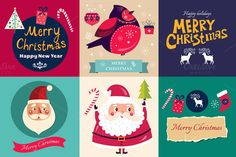 Christmas badges and cards by MoleskoStudio on Creative Market