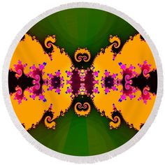 Abstract fractal floral decor Round Beach Towel by Lenka Rottova. The beach towel is in diameter and made from polyester fabric.