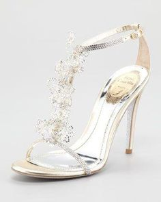 Chaussures en cristal de fleur par René Caovilla