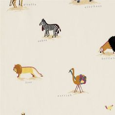 Two By Two Embroidery Fabric An adorable children's fabric embroidered with pairs of naively woven animals bound for Noah's Ark in earthy tones on a linen ground.