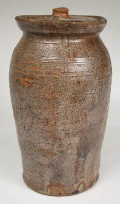 93: Early Wythe County VA redware jar with lid : Lot 93