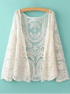 See-Through Leaves Pattern Lace Blouse - OFF-WHITE ONE SIZE(FIT SIZE XS TO M)