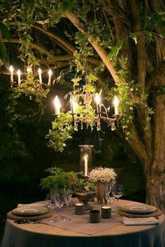 Loving the lighting idea in the trees. Esp for a party at home