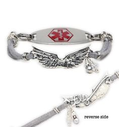 """Spread your wings and fly with our new Soar medical ID bracelet. Wearing this ID bracelet you can have a guardian angel right on your wrist. The stunning centerpiece is made of sterling silver and features a raised wing pattern on top and the word """"fly"""" on the underside. This bracelet is finished with gray suede. $59.95"""