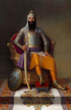 "Portrait of the Sikh Maharaja Ranjit Singh, called ""Sher-e-Punjab"" (The Lion of Punjab).."