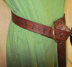 Futhark Rune Leather Belt, 1 1/2 inch, Runes Ring Belt, Celtic, Medieval, Renaissance, SCA, Fantasy