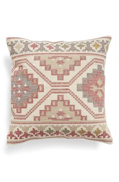Beautiful mosaic embroidery covers the face of this classic accent pillow that…