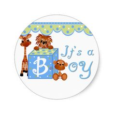 Zoo Animals It's a Boy Baby Annoucement Cards Stickers