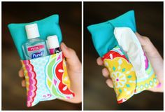 Sew these double-sided tissue pouches that are perfect for Moms with little ones on the run. One side can hold a small travel-size package of tissue, the opposite side can hold a sample-size bottle…