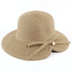 35a153aff20 Beige straw bucket hat for women bow hats for sun protection summer wear