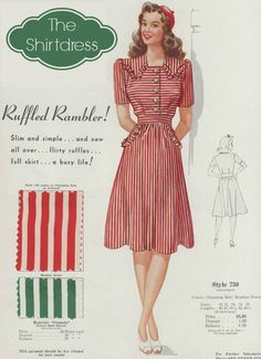 Fashion Frocks 2019 'Ruffled Rambler' striped dress with strong shoulders a slim top flirty ruffles and a full skirt Fashion Frocks ca. The post Fashion Frocks 2019 appeared first on Vintage ideas. 1940s Fashion, Fashion Models, Vintage Fashion, Edwardian Fashion, Club Fashion, Petite Fashion, Vintage Beauty, Fashion Bloggers, Curvy Fashion