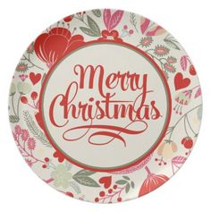 Floral Christmas Dinner Plates. Get it on : http://www.zazzle.com/floral_christmas_dinner_plates-115496445277934933?rf=238054403704815742