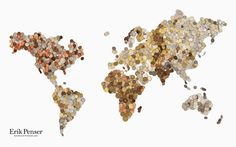 A world map used by Erik Penser Bankaktiebolag to visualize economic markets. The map contains approximately 3,000 coins and every continent is built out of its countries' currencies.