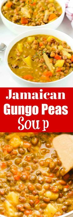 Jamaican Gungo Peas Soup (Pigeon Peas) Vegan – My All Pin Page Pea Recipes, Vegan Recipes Easy, Soup Recipes, Vegetarian Recipes, Cooking Recipes, Recipies, Jamaican Cuisine, Jamaican Dishes, Jamaican Recipes