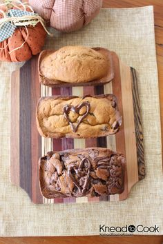 Pumpkin Chobani {Greek Yogurt} Bread...3 different ways: plain, Nutella (my fav!) or chocolate chip...A great Fall breakfast or snack...YUM!