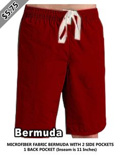 Microfiber fabric bermuda with 2 side pockets 1 back pocket (inseam is 11 inches) Is 11, Gym Men, Scrubs, Trunks, Printable, Pockets, Fabric, Swimwear, Fashion