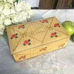 Antique Roses & Ribbons Chocolates tin box Decorative Flowers Floral Valentine's Day gift Barricini Yellow red Romantic Shabby Chic by WonderCabinetArts