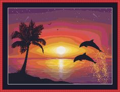 Cross Stitch Works: Dolphins at the Sunset 627111045 Free Cross Stitch Pattern