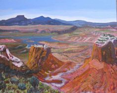 """""""Abiquiu Reservoir, #2"""" Acrylic on canvas, 20 x 24"""" October 2013, $725 #PollyJackson is an #artist from #Albuquerque, New Mexico, USA, whose #paintings I admire.  Would you love to own one of her paintings that I have pinned? Contact her at: Email: artistpolly@gmail.com       Website: http://www.pollyjackson.com   https://www.facebook.com/artistpolly    #NewMexico #AbiquiuReservoir #Painting #Acrylic"""