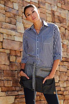 The Manhattan Waist Apron is cotton denim fabric, and features riveted pocket ends, triple front pockets, self fabric ties and zipper hip pocket. Staff Uniforms, Uniform Shirts, Work Uniforms, Bartender Uniform, Waiter Uniform, Cafe Uniform, Gingham Shirt, Blue Gingham, Gingham Dress