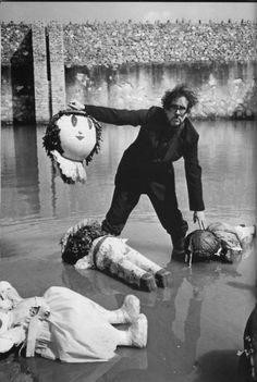 Tim Burton decapitating dolls on his day off,well everyone needs a little down time....typical gothic film directors hobby